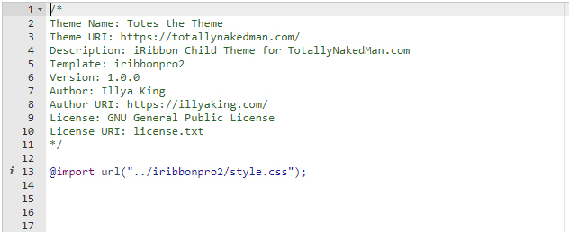 Screenshot of a Child Theme CSS.
